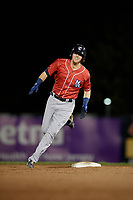 New Hampshire Fisher Cats Christian Williams (21) running the bases during an Eastern League game against the Trenton Thunder on August 20, 2019 at Arm & Hammer Park in Trenton, New Jersey.  New Hampshire defeated Trenton 7-2.  (Mike Janes/Four Seam Images)