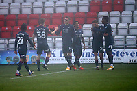 Viktor Gyokeres (14) of Swansea City scores the second goal for his team and celebrates with his team mates during Stevenage vs Swansea City, Emirates FA Cup Football at the Lamex Stadium on 9th January 2021