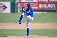 Kansas City Royals pitcher Ofreidy Gomez (56) delivers a pitch to the plate during an Instructional League game against the Cincinnati Reds on October 2, 2017 at Surprise Stadium in Surprise, Arizona. (Zachary Lucy/Four Seam Images)