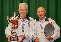 August 22, 2014, Netherlands, Amstelveen, De Kegel, National Veterans Championships, Final men 80+: Winner Wim Heeremans (L) runner up Nico van Cauter<br /> Photo: Tennisimages/Henk Koster