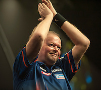 09.04.2015. Sheffield, England. Betway Premier League Darts. Matchday 10.  Raymond van Barneveld [NED] interacts with the crowd during his game with Phil Taylor [ENG]