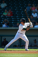 Mesa Solar Sox outfielder Jaycob Brugman (4) at bat during an Arizona Fall League game against the Glendale Desert Dogs on October 14, 2015 at Sloan Park in Mesa, Arizona.  Glendale defeated Mesa 7-6.  (Mike Janes/Four Seam Images)