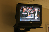 6 April 2008: Stanford Cardinal Candice Wiggins (left) and head coach Tara VanDerveer (right) on ESPN's halftime show on a television in the media workroom during Stanford's 82-73 win against the Connecticut Huskies in the 2008 NCAA Division I Women's Basketball Final Four semifinal game at the St. Pete Times Forum Arena in Tampa Bay, FL.