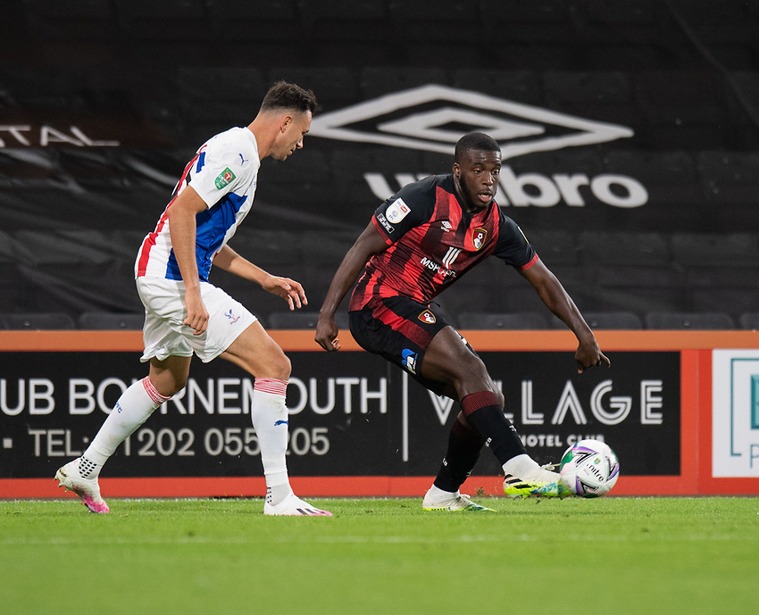 Bournemouth's Nnamdi Ofoborh (right) under pressure from Crystal Palaces' Jaroslaw Jach (left) <br /> <br /> Photographer David Horton/CameraSport<br /> <br /> Carabao Cup Second Round Southern Section - Bournemouth v Crystal Palace - Tuesday 15th September 2020 - Vitality Stadium - Bournemouth<br />  <br /> World Copyright © 2020 CameraSport. All rights reserved. 43 Linden Ave. Countesthorpe. Leicester. England. LE8 5PG - Tel: +44 (0) 116 277 4147 - admin@camerasport.com - www.camerasport.com