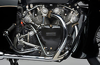BNPS.co.uk (01202 558833)<br /> Pic: GraemeHunt/BNPS<br /> <br /> Stunning transformation...mighty V twin 1000cc engine.<br /> <br /> £91,000 'box of bits' has been transformed into a beautiful and rare Vincent Black Prince - the last model from the famous marque.<br /> <br /> A classic motorbike has been painstakingly restored after being bought as a 'box of bits' from Bonhams in 2014 - and is now on sale for £140,000.<br /> <br /> The rare 1955 Vincent Black Prince bike was last ridden in 1967 when it was taken off road and dismantled for a major restoration project.<br /> <br /> But the work never happened and the jigsaw bike was sold in 2014 for a whopping £91,000.<br /> <br /> Since then the canny owner has spent five years and thousands of pounds putting the Vincent back together again.<br /> <br /> London based prestige dealer Graeme Hunt is now selling the very rare machine that was one of the first motorbikes to employ streamlining over its mighty V twin 1000 cc engine.