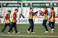 Sam Cook of Essex celebrates with his team mates after taking the wicket of D'Arcy Short during Essex Eagles vs Hampshire Hawks, Vitality Blast T20 Cricket at The Cloudfm County Ground on 11th June 2021