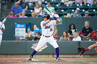 Bryant Flete (30) of the Winston-Salem Dash at bat against the Potomac Nationals at BB&T Ballpark on August 5, 2017 in Winston-Salem, North Carolina.  The Dash defeated the Nationals 6-0.  (Brian Westerholt/Four Seam Images)