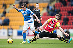 St Johnstone v Partick Thistle…29.10.16..  McDiarmid Park   SPFL<br />Danny Swanson skips by Liam Lindsay<br />Picture by Graeme Hart.<br />Copyright Perthshire Picture Agency<br />Tel: 01738 623350  Mobile: 07990 594431