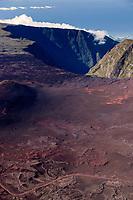 France, île de la Réunion, Parc national de La Réunion, classé Patrimoine Mondial de l'UNESCO, volcan Piton de la Fournaise, route de la Plaine des Sables, en fond  la Rivière des Remparts  (vue aérienne)  //  France, Reunion island (French overseas department), Parc National de La Reunion (Reunion National Park), listed as World Heritage by UNESCO, Piton de la Fournaise volcano, road of Plaine des Sables, in the background Riviere des Remparts, (aerial view)