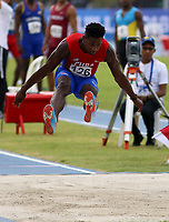 BARRANQUILLA - COLOMBIA, 30-07-2018: Briander Rivero Reyes, de Cuba, durante su participación en la prueba de Salto Largo, Masculino de la prueba del Decatlón, en el Estadio de Atletismo, como parte de los Juegos Centroamericanos y del Caribe Barranquilla 2018. / Briander Rivero Reyes, from Cuba, during his participation in the Long Jump, Male, test, at the Athletics Stadium, as a part of the Central American and Caribbean Sports Games Barranquilla 2018. Photo: VizzorImage / Cont.