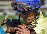 OLDSMAR, FLORIDA - FEBRUARY 13: Jockey John Velzaquez, receiving the Sam F. Davis Trophy after he wins the Sam F. Davis Stakes while riding Destin #3, at Tampa Bay Downs on February 13, 2016 in Oldsmar, Florida (photo by Doug DeFelice/Eclipse Sportswire/Getty Images)