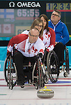 Sochi, RUSSIA - Mar 13 2014 - Dennis Thiessen, Sonja Gaudet and Ina Forrest as Canada takes on Finland at the 2014 Paralympic Winter Games in Sochi, Russia.  (Photo: Matthew Murnaghan/Canadian Paralympic Committee)