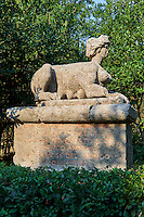 Sphinx, commissioned by Piaer Francesco Orsini c. 1513-84, The Renaissance Mannerist statues of the Park of Monsters or The Sacred Wood of Bamarzo, Italy