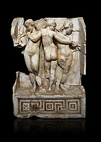 Roman Sebasteion relief  sculpture of the Three Graces, Aphrodisias Museum, Aphrodisias, Turkey.   Against a black background.<br /> <br /> The Three Graces stand in their familiar hellenistic composition. They were handmaids of Aphrodite and appeared in this form on the decoration of her cult statue at Aphrodisias. Their names evoked their character: Euphrosyne (joy), Aglaia (Splendour) and Thaleia (Bloom).