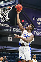 Washington, DC - March 10, 2020: Hofstra Pride forward Isaac Kante (32) makes a layup during the CAA championship game between Hofstra and Northeastern at  Entertainment and Sports Arena in Washington, DC.   (Photo by Elliott Brown/Media Images International)