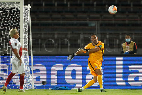 13th November 2020; National Stadium of Santiago, Santiago, Chile; World Cup 2020 Football qualification, Chile versus Peru;  Goalkeeper Claudio Bravo of Chile punts long upfield