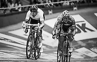 Sir Bradley Wiggins (GBR/Wiggins) coming to the side of Kenny De Ketele (BEL/Topsport Vlaanderen-Baloise) to try and outsprint him<br /> <br /> 2016 Gent 6<br /> day 1