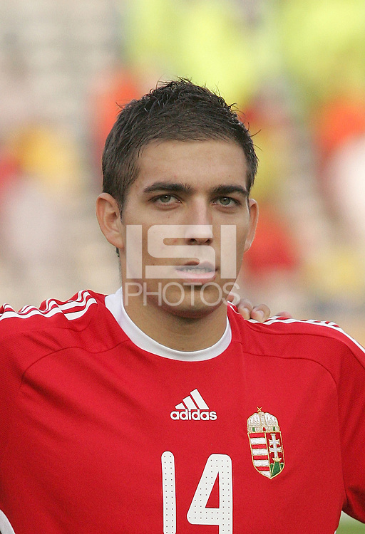 Hungary's Adam Presinger (14) stands on the field before the game against Ghana at the FIFA Under 20 World Cup Semi-final match at the Cairo International Stadium in Cairo, Egypt, on October 13, 2009. Costa Rica won the match 1-2 in overtime play. Ghana won the match 3-2.