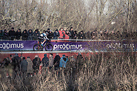 European Champion Mathieu van der Poel (NED/Beobank Coredon) already took a gap and leading the race in the first lap.<br /> <br /> men's elite race<br /> Flandriencross Hamme / Belgium 2017