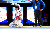 05 MAY 2012 - MANCHESTER, GBR - Ramin Azizov (AZE) of Azerbaijan reacts to his loss to Great Britain's Aaron Cook in the men's 2012 European Taekwondo Championships -80kg category final at Sportcity in Manchester, Great Britain after the referee penalised Azizov for stepping out of the field of play in the final second of the last round to give Cook the title (PHOTO (C) 2012 NIGEL FARROW)