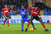 Junior Hoilett of Cardiff City challenges Dominic Iorfa of Ipswich during the Sky Bet Championship match between Cardiff City and Ipswich Town at The Cardiff City Stadium, Cardiff, Wales, UK. Tuesday 31 October 2017