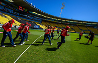 The England team runs out for the 2nd international women's T20 cricket match between the New Zealand White Ferns and England at Sky Stadium in Wellington, New Zealand on Friday, 5 March 2021. Photo: Dave Lintott / lintottphoto.co.nz
