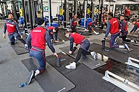 Players exercise in the gym during the Swansea City Training Session and Press Conference at The Fairwood Training Ground, Wales, UK. Thursday 29 March 2018
