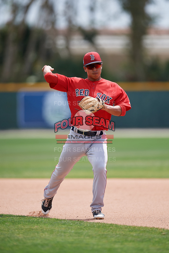 Boston Red Sox Tanner Nishioka (47) during a Minor League Spring Training game against the Baltimore Orioles on March 20, 2018 at Buck O'Neil Complex in Sarasota, Florida.  (Mike Janes/Four Seam Images)