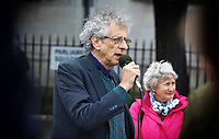 Activist Piers Corbyn addresses the crowd at a demonstration in Parliament Square, Westminster against Lockdown, Social Distancing, Track and Trace and the wearing of facemasks. September 30th 2020<br /> <br /> Photo by Keith Mayhew
