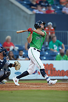 Lucas Duda (52) of the Gwinnett Stripers follows through on his swing against the Scranton/Wilkes-Barre RailRiders at Coolray Field on August 16, 2019 in Lawrenceville, Georgia. The Stripers defeated the RailRiders 5-2. (Brian Westerholt/Four Seam Images)