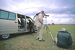 George Gee & Paul Husted Observing Whooping Cranes