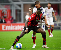 Calcio, Serie A: AC Milan - Cagliari calcio, Giuseppe Meazza (San Siro) stadium, Milan on August 29, 2021.  <br /> Milan's Rafael Leao (l) in action with Razvan Marin (r) during the Italian Serie A football match between Milan and Cagliari at Giuseppe Meazza stadium, on August 29, 2021.  <br /> UPDATE IMAGES PRESS/Isabella Bonotto