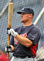 24 September 2011: Atlanta Braves third baseman Brooks Conrad awaits his turn in the batting cage prior to a game against the Washington Nationals at Nationals Park in Washington, DC. The Nationals defeated the Braves 4-1 to even up their 3-game series. Mandatory Credit: Ed Wolfstein Photo