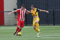 Bradley Sach of Bowers and Mickey Parcell of Hornchurch during Bowers & Pitsea vs Hornchurch, Emirates FA Cup Football at The Len Salmon Stadium on 2nd October 2021