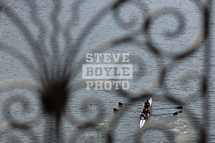 A four man crew from Albany rows down the river as they compete during the 68th Dad Vail Regatta on the Schuylkill River in Philadelphia, Pennsylvania on May 12, 2006........