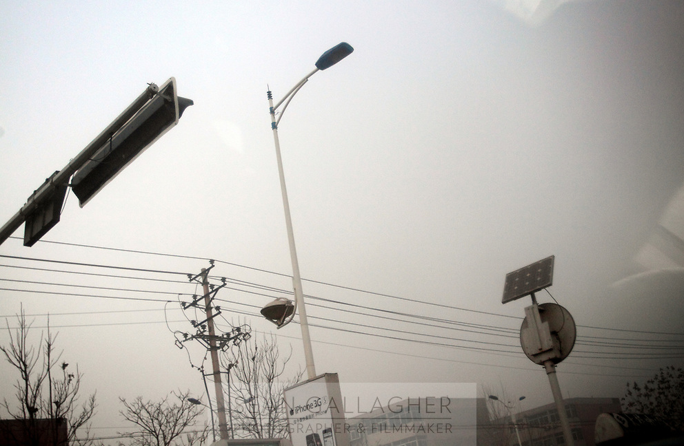 CHINA. Hebei.  Solar panelsin the streets of Baoding City near Beijing, the world's first 'carbon positive' town. The town's main industires focus on producing wind and solar technologies. 2009