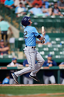 Tampa Bay Rays pinch hitter Michael Russell (82) follows through on a swing during a Grapefruit League Spring Training game against the Baltimore Orioles on March 1, 2019 at Ed Smith Stadium in Sarasota, Florida.  Rays defeated the Orioles 10-5.  (Mike Janes/Four Seam Images)