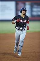 Tres Barrera (36) of the Potomac Nationals rounds the bases after hitting a home run during the 2018 Carolina League All-Star Classic at Five County Stadium on June 19, 2018 in Zebulon, North Carolina. The South All-Stars defeated the North All-Stars 7-6.  (Brian Westerholt/Four Seam Images)