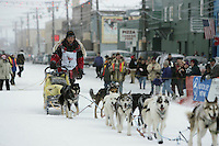 Third place finisher Mitch Seavey at the finish line in Nome.  End of the  2005 Iditarod Trail Sled Dog Race.