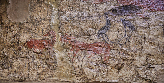 Fresco of a scene in which a pair of Cranes stand opposite two wild deer. The head of one of the birds is missing. 6000 BC, Catalhoyuk Collections. Museum of Anatolian Civilisations, Ankara