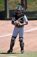 Mobile BayBears catcher Steve Rodriguez (31) warms up a pitcher in the bullpen during a game against the Huntsville Stars on April 23, 2014 at Joe Davis Stadium in Huntsville, Tennessee.  Huntsville defeated Mobile 4-1.  (Mike Janes/Four Seam Images)