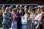 SARATOGA SPRINGS - AUGUST 27: Jockey John Velazquez for Haveyougoneaway #10 (not pictured), poses for a photo with the connections after winning the Ballerina Stakes on Travers Stakes Day at Saratoga Race Course on August 27, 2016 in Saratoga Springs, New York. (Photo by Sue Kawczynski/Eclipse Sportswire/Getty Images)