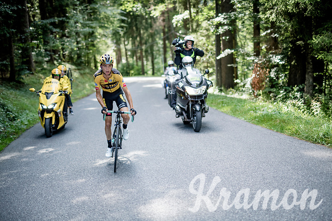 Sepp Kuss (USA/Jumbo-Visma) going solo in the climb towards the finish<br /> <br /> Stage 5: Megève to Megève (154km)<br /> 72st Critérium du Dauphiné 2020 (2.UWT)<br /> <br /> ©kramon