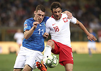 Football: Uefa Nations League match Italy vs Poland, Renato Dall'Ara stadium, Bologna, Italy, September 7, 2018. <br /> Poland's Bartosz Bareszynski (r) in action with Italy's Andrea Belotti (l) during the Uefa Nations League match between Italy and Poland at the Renato Dall'Ara stadium, Bologna, Italy, September 7, 2018. <br /> UPDATE IMAGES PRESS/Isabella Bonotto