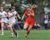 Newton, Massachusetts - April 14, 2018: NCAA Division I. Boston College (white) defeated Virginia Tech (orange), 9-7, at Newton Campus Lacrosse Field.