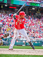 21 June 2015: Washington Nationals infielder Yunel Escobar at bat during a game against the Pittsburgh Pirates at Nationals Park in Washington, DC. The Nationals defeated the Pirates 9-2 to sweep their 3-game weekend series, and improve their record to 37-33. Mandatory Credit: Ed Wolfstein Photo *** RAW (NEF) Image File Available ***