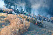 Franconia Notch State Park - Snow making at Cannon Mountain during the late autumn months in the White Mountains, New Hampshire USA from Artists Bluff