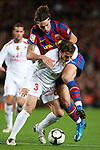 Football Season 2009-2010. Barcelona's player Zlatan Ibrahimovic and Mallorca's player Josemi during the Spanish first division soccer match at Camp Nou stadium in Barcelona November 07, 2009.