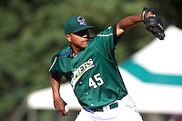 Jamestown Jammers pitcher Helpi Reyes #45 during the first game of a double header against the Hudson Valley Renegades at Russell Diethrick Park on August 6, 2012 in Jamestown, New York.  Hudson Valley defeated Jamestown 4-2.  (Mike Janes/Four Seam Images)