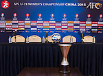 Head coaches of Korea Republic, DPR Korea, Iran and Thailand attends the pre match press conference of the Group A during the AFC U-19 Women's Championship China at the Suti Fangshan Sports Apartment on 18 August 2015 in Nanjing, China. Photo by Aitor Alcalde / Power Sport Images